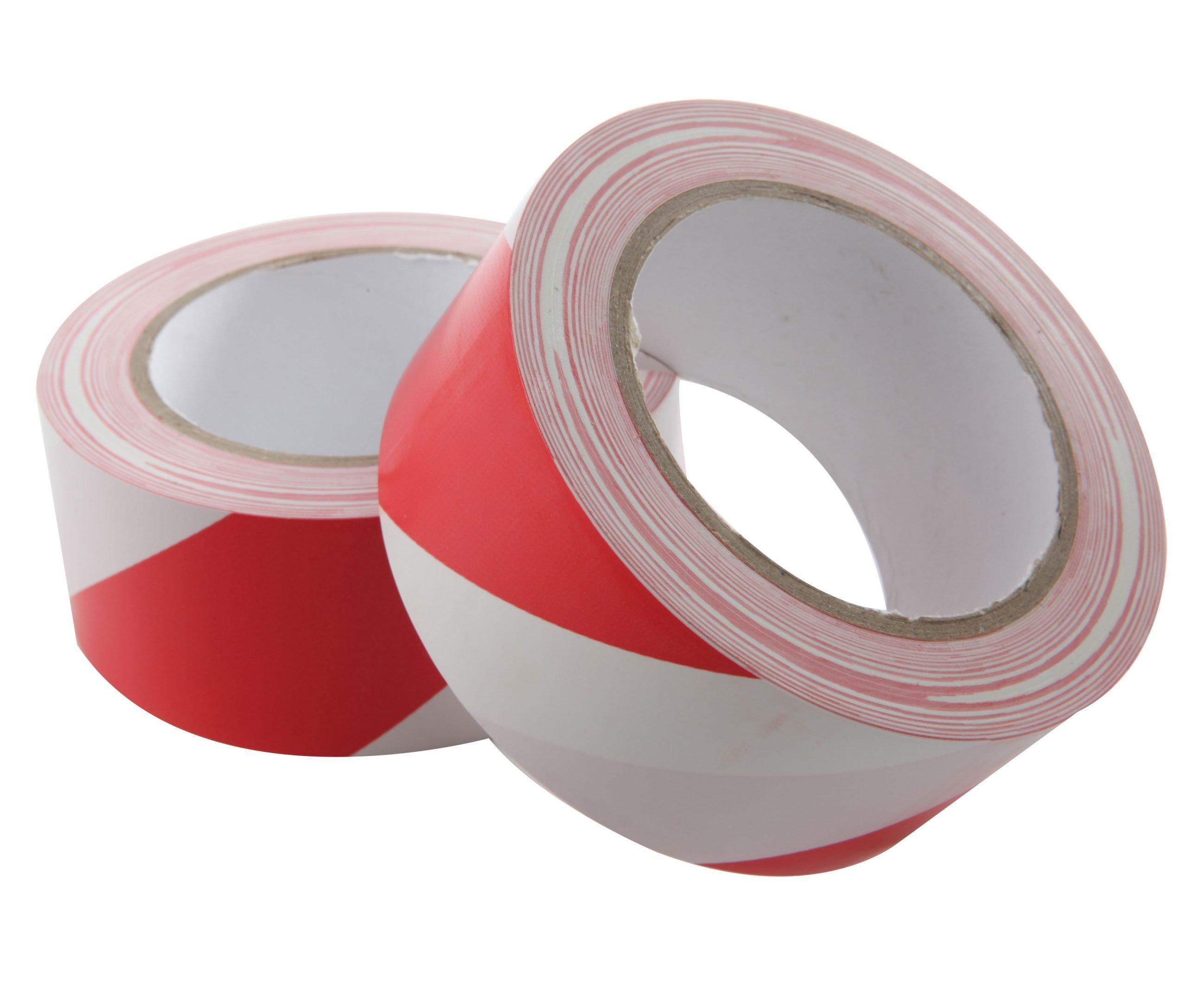 Vloermarkeringstape wit-rood streep